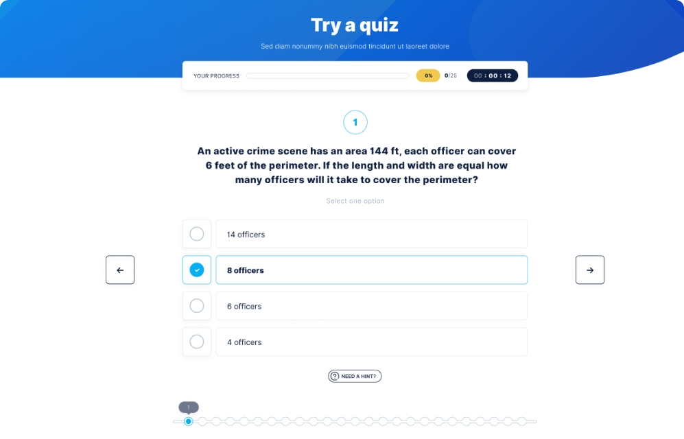 Police test guide member quiz area
